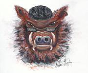 Razorbacks Painting Prints - Harley Hog Print by Nadine Rippelmeyer