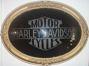 Harley Davidson Glass Art - Harley Mirror by George Wallis