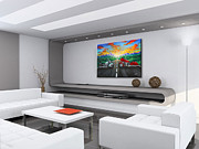 Harley Davidson Paintings - Harley Sunset -Contemporary Living Room Showcase by Teshia Art