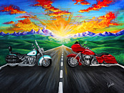 Harley Davidson Paintings - Harley Sunset by Teshia Art