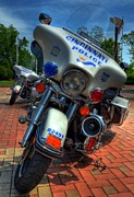 Law Enforcement Framed Prints - Harleys In Cincinnati 1 Framed Print by Mel Steinhauer