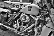 Police Officers Prints - Harleys In Cincinnati 2 bw Print by Mel Steinhauer