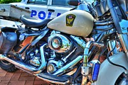 Police Cars Metal Prints - Harleys In Cincinnati 2 Metal Print by Mel Steinhauer