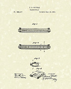 1876 Framed Prints - Harmonica 1876 Patent Art Framed Print by Prior Art Design