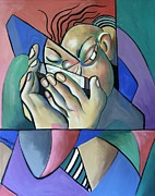 Cubist Mixed Media Framed Prints - Harmonica Man Framed Print by Anthony Falbo