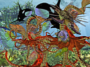Ocean Creatures Metal Prints - Harmony Under the Sea Metal Print by Betsy A Cutler East Coast Barrier Islands