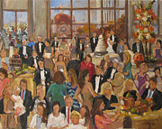 Wedding Reception Paintings - Harned-Powell Wedding Reception by Barbara Davis