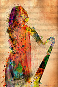 Adults Mixed Media Prints - Harp Print by Mark Ashkenazi