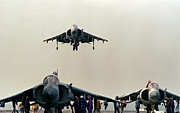 Iraq Prints Prints - Harrier aircraft as a third Harrier comes in to land Print by Amy Denson