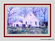 Slaves Paintings - Harriet Tubmans Family Church by Keith OBrien Simms