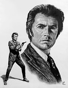 Movie Star Drawings Metal Prints - Harry Callahan Metal Print by Andrew Read