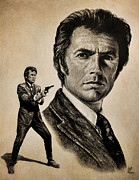 Clint Eastwood Art Framed Prints - Harry Callahan  tan version Framed Print by Andrew Read