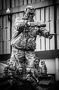 Chicago Cubs Prints - Harry Caray Statue at Wrigley Field in Black and White Print by Paul Velgos