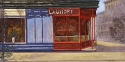 Store Fronts Painting Metal Prints - Harry Chong Laundry Metal Print by Richard Baumann