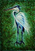 Great Blue Heron Paintings - Harry Heron by Adele Moscaritolo