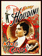 Magician Posters - Harry Houdini - King of Cards Poster by Digital Reproductions