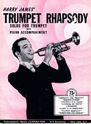 Musicans Framed Prints - Harry James Trumpet Rhapsody Framed Print by Mel Thompson