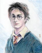 Character Portraits Drawings Posters - Harry Potter - Daniel Radcliffe Poster by Yoshiko Mishina