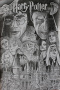 Montage Drawings Posters - Harry Potter Montage Poster by Mark Harris