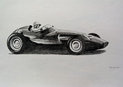 Motorsport Drawings - Harry Schell  BRM by Steve Jones