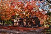 """autumn Foliage New England"" Prints - Hartwell tavern under canopy of fall foliage Print by Jeff Folger"