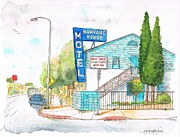 Inns Prints - Harvard House Motel Hollywood-Blvd - Los Angeles - California Print by Carlos G Groppa