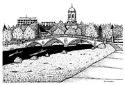 River Scenes Drawings - Harvard Weeks Footbridge by Conor Plunkett