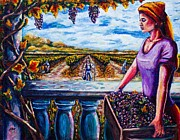 Wine Making Painting Prints - Harvest and the Vineyards Daughter  Print by Kevin Richard