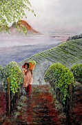 Grape Vineyard Painting Framed Prints - Harvest at Dawn Framed Print by Michael Durst
