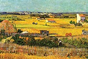 Gold Skies Framed Prints - Harvest at La Crau with Montmajour in the Background Framed Print by Vincent Van Gogh