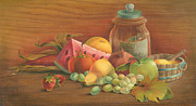 Cornucopia Painting Metal Prints - Harvest Fruit Metal Print by Doreta Y Boyd