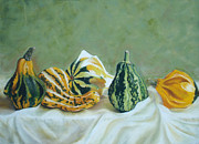 Harvest Art Pastels Prints - Harvest Gourds Print by Joanne Grant
