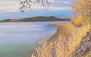 Peaceful Scene Pastels Posters - Harvest Lake Poster by SophiaArt Gallery