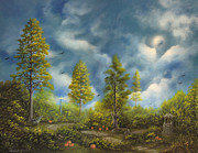 Famous Acrylic Landscape Paintings - Harvest Moon. Fantasy Fairy Tale Landscape By Philippe Fernandez by Philippe Fernandez