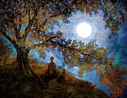 Laura Milnor Iverson Prints - Harvest Moon Meditation Print by Laura Iverson