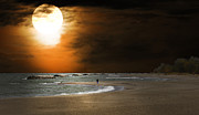 Randall Branham Prints - Harvest moon on the Beach Print by Randall Branham