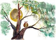 Buddhist Paintings - Harvest Moon Owl by Ellen Miffitt