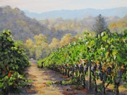 Grapevines Paintings - Harvest Morning by Karen Ilari