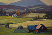 Berkshire Hills Paintings - Harvest Patterns by Len Stomski