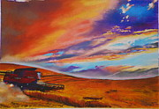 Harvest Pastels Metal Prints - Harvest Sunset Metal Print by Tom Garfield