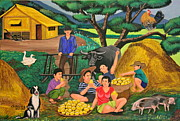 Family Farm Painting Prints - Harvest Time Print by Cyril and Lorna Maza