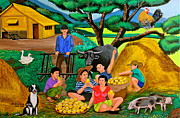 Family Picnic Prints - Harvest Time Print by Cyril Maza