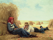 Haystack Paintings - Harvest Time by Julien Dupre