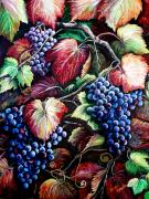 Purple Grapes Paintings - Harvest Time by Karin Best