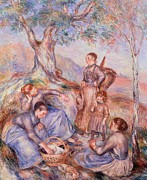 Smiling Painting Posters - Harvesters breakfast Poster by Pierre-Auguste Renoir