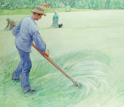 Male Posters - Harvesters Poster by Carl Larsson