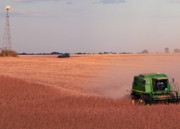 John Deere Photos - Harvesting Iowa Beans by David Bearden