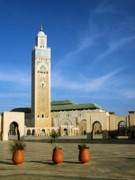Minaret Posters - Hassan II Mosque Poster by Oliver Johnston