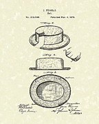 Thomas Drawings Metal Prints - Hat 1879 Patent Art Metal Print by Prior Art Design