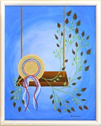 Original  By Artist Paintings - Hat on a Swing by Ron Davidson